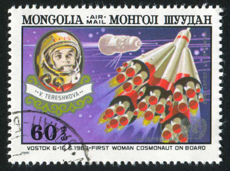 tereshkova: MONGOLIA - CIRCA 1982: timbro stampato dalla Mongolia, mostra Vostok 6, Tereshkova, circa 1982