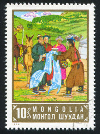 marketeer: MONGOLIA - CIRCA 1973: stamp printed by Mongolia, shows Sukhe Bator and merchants, circa 1973 Stock Photo
