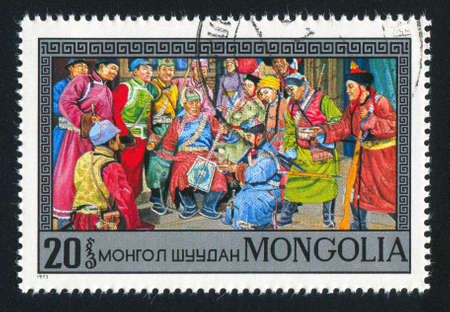 MONGOLIA - CIRCA 1973: stamp printed by Mongolia, shows Sukhe Bator with revolutionary council, circa 1973