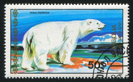 MONGOLIA - CIRCA 1989: stamp printed by Mongolia, shows polar bear, circa 1989 photo