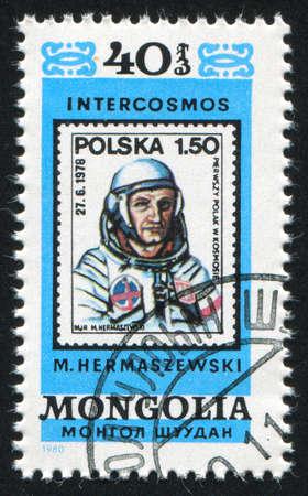 MONGOLIA - CIRCA 1980: stamp printed by Mongolia, shows astronaut, circa 1980