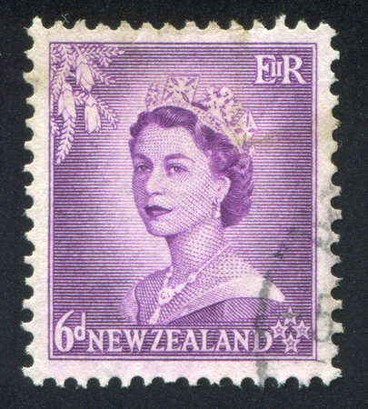 NEW ZEALAND - CIRCA 1953: stamp printed by New Zealand, shows shows queen Elizabeth II, circa 1953 Stock Photo - 12590629