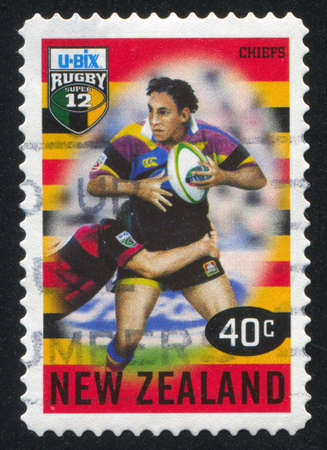 NEW ZEALAND - CIRCA 1999: stamp printed by New Zealand, shows New Zealand U-Bix Rugby Super, Chiefs, circa 1999
