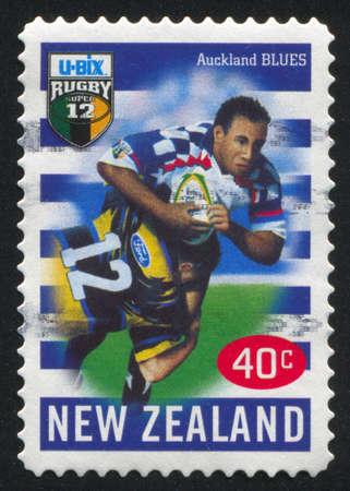 NEW ZEALAND - CIRCA 1999: stamp printed by New Zealand, shows New Zealand U-Bix Rugby Super, Blues, circa 1999