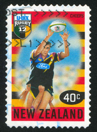 chiefs: NEW ZEALAND - CIRCA 1999: stamp printed by New Zealand, shows New Zealand U-Bix Rugby Super, Chiefs, circa 1999