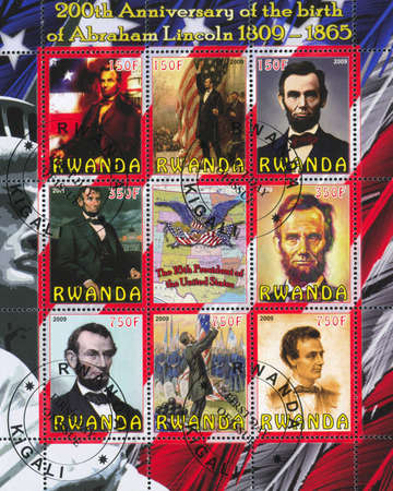 RWANDA - CIRCA 2009: stamp printed by Rwanda, shows Abraham Lincoln, circa 2009