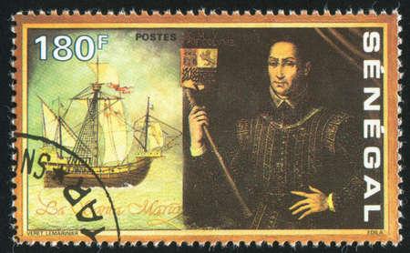 ketch: SENEGAL - CIRCA 1991: stamp printed by Senegal, shows Santa Maria, Columbus, circa 1991