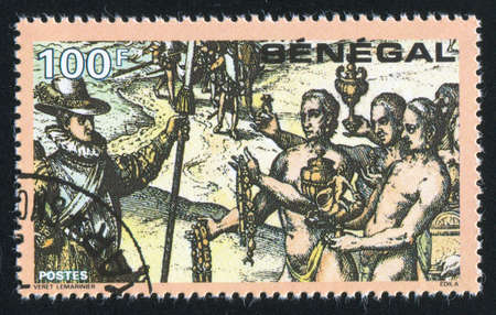 SENEGAL - CIRCA 1991: stamp printed by Senegal, shows Columbus Meeting Haitian natives, circa 1991 photo