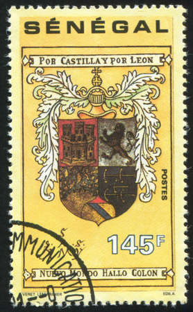 SENEGAL - CIRCA 1991: stamp printed by Senegal, shows Columbus personal coat of arms, circa 1991 photo
