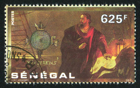 SENEGAL - CIRCA 1991: stamp printed by Senegal, shows Columbus at chart table, circa 1991