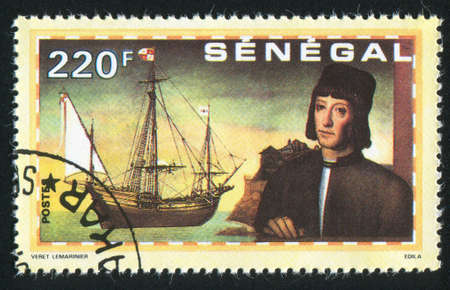 SENEGAL - CIRCA 1991: stamp printed by Senegal, shows Columbus, ships, circa 1991