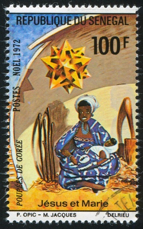 SENEGAL - CIRCA 1972: stamp printed by Senegal, shows Virgin and Child, circa 1972 photo