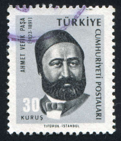 TURKEY - CIRCA 1965: stamp printed by Turkey, shows Ahmet Vifik Pasha, playwright, circa 1965.