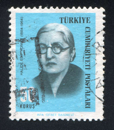 halide: TURKEY - CIRCA 1966: stamp printed by Turkey, shows Halide Edip Adivar, Writer, circa 1966.