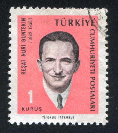 novelist: TURKEY - CIRCA 1965: stamp printed by Turkey, shows Resat Nuri Guntekin, Novelist, circa 1965.