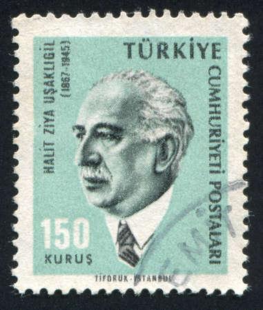 novelist: TURKEY - CIRCA 1965: stamp printed by Turkey, shows Halit Ziya Usakligil, novelist, circa 1965.
