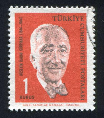 novelist: TURKEY - CIRCA 1964: stamp printed by Turkey, shows Huseyin Rahmi Gurpinar, novelist, circa 1964.
