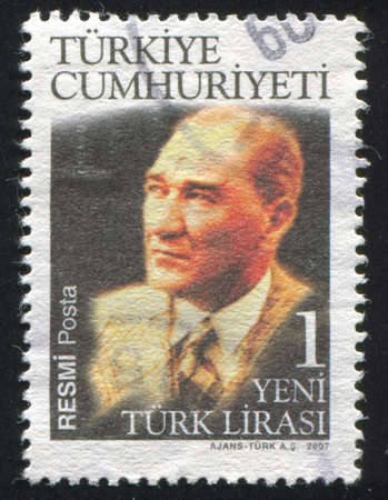 TURKEY - CIRCA 2007: stamp printed by Turkey, shows president Kemal Ataturk, circa 2007. Stock Photo - 12590620