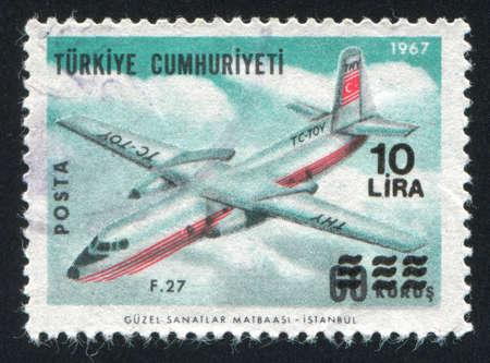TURKEY - CIRCA 1967: stamp printed by Turkey, shows airplane, circa 1967. photo