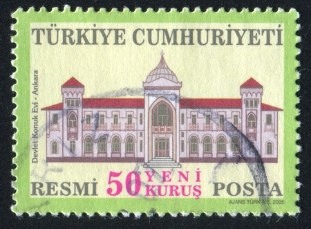 TURKEY - CIRCA 2005: stamp printed by Turkey, shows State Guest House, Ankara, circa 2005. photo