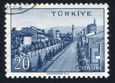 corum: TURKEY - CIRCA 1959: stamp printed by Turkey, shows Turkish city, Corum, circa 1959.