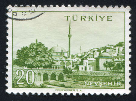TURKEY - CIRCA 1959: stamp printed by Turkey, shows Turkish city, Nevsehir, circa 1959. photo