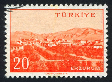 TURKEY - CIRCA 1959: stamp printed by Turkey, shows Turkish city, Erzurum, circa 1959. photo