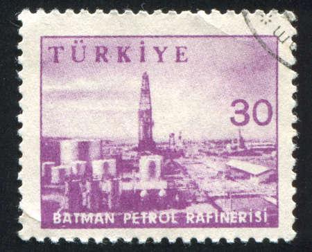 batman: TURKEY - CIRCA 1959: stamp printed by Turkey, shows Gasoline refinery, Batman, circa 1959. Stock Photo