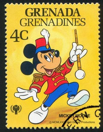 mickey: GRENADA - CIRCA 1979: stamp printed by Grenada, shows Walt Disney characters, Drum Major Mickey Mouse, circa 1979 Editorial
