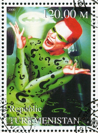 Turkmenistan - CIRCA 2000: Stempel von Turkmenistan gedruckt, zeigt Riddler, Batman Forever, circa 2000 Standard-Bild - 12592148