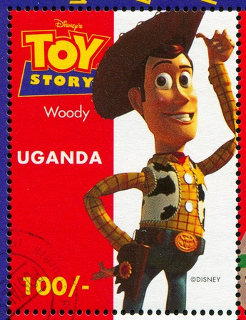 UGANDA - CIRCA 1997: stamp printed by Uganda, shows Toy Story, Woody, circa 1997.