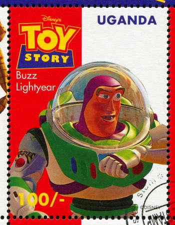UGANDA - CIRCA 1997: stamp printed by Uganda, shows Toy Story, Buzz Lightyear, circa 1997.