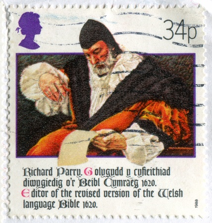 GREAT BRITAIN - CIRCA 1988: stamp printed by Great Britain, shows Welsh Bible, Richard Parry, circa 1988 photo
