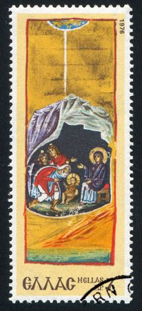 GREECE - CIRCA 1976: stamp printed by Greece, shows Nativity. Designs from Monastery, circa 1976 photo