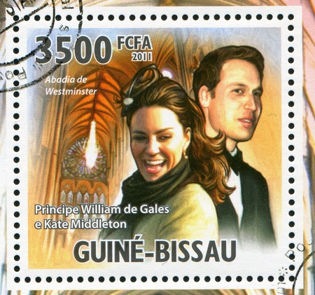 middleton: GUINEA-BISSAU - CIRCA 2011: stamp printed by Guinea-Bissau, shows Prince William of Wales and Kate Middleton, circa 2011