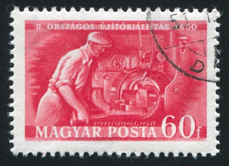 HUNGARY- CIRCA 1950: stamp printed by Hungary, shows high speed lather, circa 1950