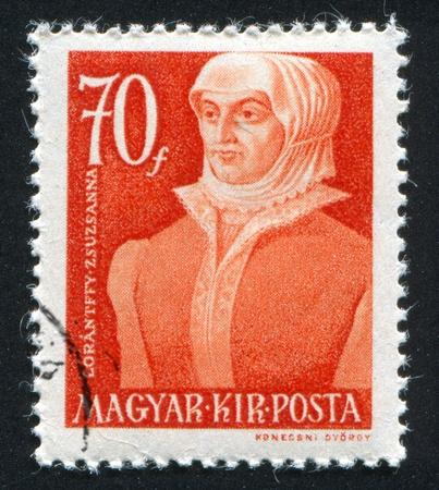HUNGARY- CIRCA 1944: stamp printed by Hungary, shows Zsuzsanna Lorantffy, circa 1944