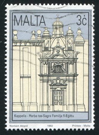 MALTA - CIRCA 1992: stamp printed by Malta, shows Church of the Flight of the Holy Family into Egypt, circa 1992 photo