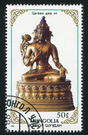 deities: MONGOLIA - CIRCA 1988: stamp printed by Mongolia, shows effigies of Buddhist deities, circa 1988