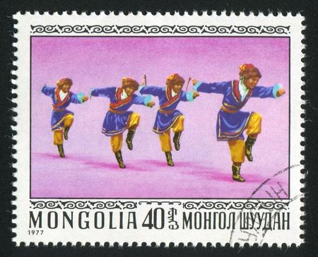 mongolia horse: MONGOLIA - CIRCA 1977: stamp printed by Mongolia, shows Ekachi or horse dance,  circa 1977