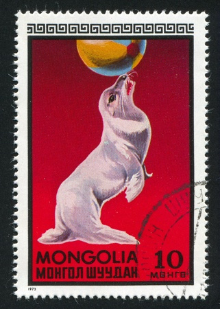 MONGOLIA - CIRCA 1973: stamp printed by Mongolia, shows seal balancing on the ball, circa 1973 Stock Photo - 12742444