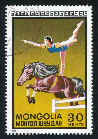 horseman: MONGOLIA - CIRCA 1973: timbro stampato dalla Mongolia, mostra la donna equestre, circa 1973