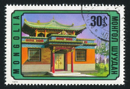 MONGOLIA - CIRCA 1974: stamp printed by Mongolia, shows entrance to Charity Temple, Ulan Bator, circa 1974 photo