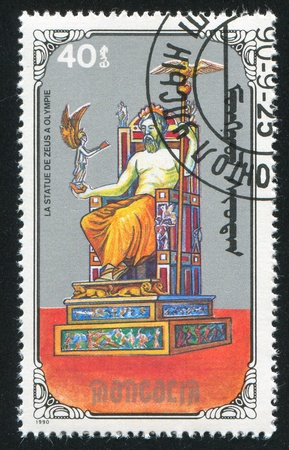 MONGOLIA - CIRCA 1990: stamp printed by Mongolia, shows Statue of Zeus, circa 1990 Stock Photo - 12740660