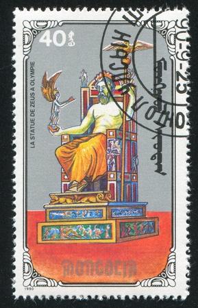 MONGOLIA - CIRCA 1990: stamp printed by Mongolia, shows Statue of Zeus, circa 1990 Stock Photo - 12740660