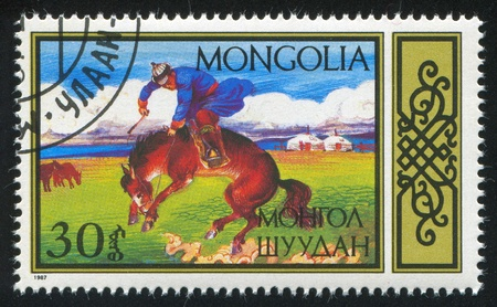 mongolia horse: MONGOLIA - CIRCA 1987: stamp printed by Mongolia, shows Equestrian Sports, Breaking horse, circa 1987