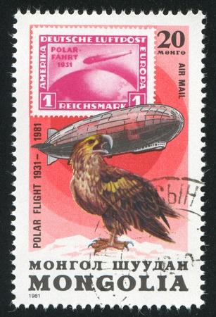 graf: MONGOLIA - CIRCA 1981: stamp printed by Mongolia, shows  Graf Zeppelin and sea eagle, circa 1981