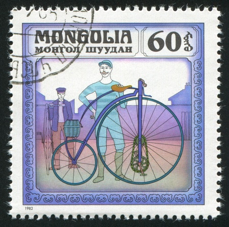MONGOLIA - CIRCA 1982: stamp printed by Mongolia, shows Two Men with Bicycles, circa 1982