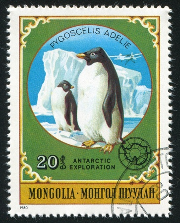 MONGOLIA - CIRCA 1980: stamp printed by Mongolia, shows Emperor Penguins, circa 1980 Stock Photo - 12740805