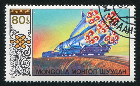MONGOLIA  CIRCA 1985: stamp printed by Mongolia, shows spacecraft, circa 1985 photo